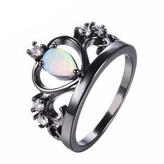 Crown Shape Rainbow Opal Ring