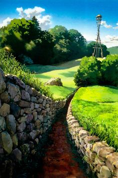 Hayao Miyazaki, the rocks and light on grass blades, wonderful. Love his landscape backgrounds.