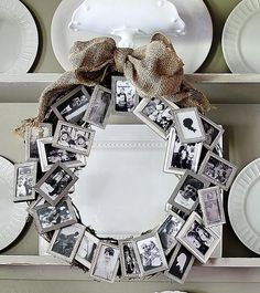 While it will take some time to gather frames and photos for the wreath, you'll be able to enjoy it for years to come and it will make a wonder family heirloom.