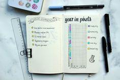 Bullet journal ideeën Nederlands. Year in pixels en goede voornemens #bulletjournaling #bulletjournaljunkies
