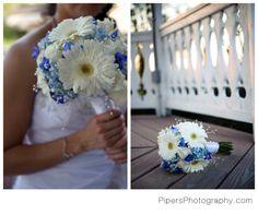 Gerber Daisies,  Daisy wedding bouquet, blue and white wedding bouquet and wedding flowers, pipersphotography.com