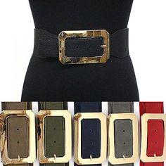 classy Women Elastic Waist Wide Belt Stretch PU Leather Gold Metal Hook Black