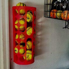 Ikea Plastic Bag Holder used as softball storage.
