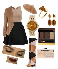 """""""Shades of brown."""" by veronica-maneaa ❤ liked on Polyvore featuring Gianvito Rossi, Avelon, Edie Parker, Ona Chan, Vince Camuto, MICHAEL Michael Kors, Tom Ford, brown, goldjewelry and ShadesOfBrown"""