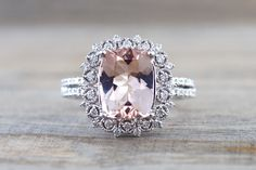 18k White Gold Elongated Cushion Cut Morganite Diamond Halo Engagement Ring