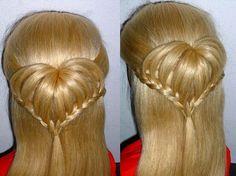 Einfache Flechtfrisuren: HERZ-Frisur für Kinderhaare. Heart Braid Hairst...