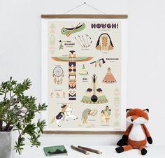 Drucke & Plakate - Indianer Poster, DIN B2, 50 x 70 cm - ein Designerstück von fiftyfour-media-illustration bei DaWanda