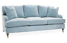 Hudson Sofa, Light Blue Velvet - Sofas & Sectionals - Furniture - Category Landing Page French Country Sofa, Country Sofas, French Farmhouse, Family Room Design, Dining Room Design, Light Blue Couches, Blue Sofas, Hudson Sofa, Blue Velvet Sofa