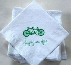 Tandem Bicycle Napkins / Set of 50 / Bar Napkins / Perfect for your wedding