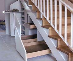Stauraum unter der Treppe optimal nutzen - Optimal use of storage space under the stairs - the Staircase Storage, Stair Storage, Bedroom Storage, Understairs Storage Ideas, Under Stairs Storage Drawers, Secret Storage, Hidden Storage, House Stairs, Stairways