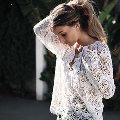 ♡ White Lace Blouse Shirt Long Sleeve Vintage ♡