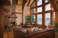 Timber Frame Great Room in Idaho  Like paint suede finish throughout walls ceilings...whole house one olor