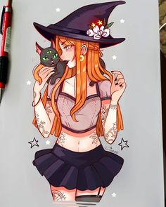 Loyal Companion by larienne on DeviantArt Art Sketches, Art Drawings, Anime Witch, Anime Wizard, Character Art, Character Design, Witch Characters, Witch Drawing, Arte Sketchbook