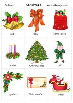 for Kids Printables Free Preschool English vocabulary learning cards for early childhood education A flash card game with Bi. English Primary School, Learning English For Kids, Teaching English, English Christmas, Christmas Words, Christmas Quiz, Christmas Worksheets, Christmas Activities, Free Preschool