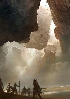 "Concept art for Guild Wars // ""Desert Rocks"" by Kekai Kotaki Landscape Concept, Fantasy Landscape, Landscape Art, Fantasy Concept Art, Fantasy Artwork, Environment Concept, Environment Design, Fantasy Places, Fantasy World"