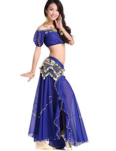 Dancewear Chiffon and Velvet Belly Dance Outfit For Ladies More Colors - USD $ 49.99