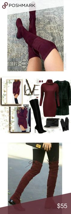 Wine Back Lace Up Over-The-Knee Suede Flat Boot New item, more info soon.  Wine Back Lace Up Over-The-Knee Suede Flat Boot  TRUE SIZE SARAH SIAH Shoes Over the Knee Boots
