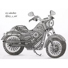 Harley Davidson by Ivy Sanchez Bike Drawing, Doodle Art Drawing, Zentangle Drawings, Mandala Drawing, Zentangles, Zentangle Patterns, Cute Doodle Art, Doodle Art Designs, Mandala Art Lesson