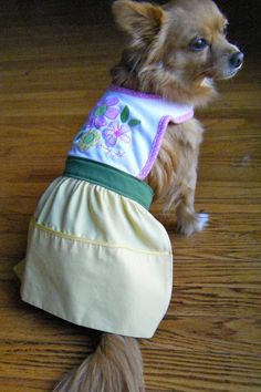 How to make a DIY dog dress from a baby bib.