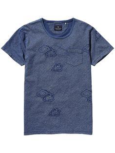 Indigoblaues T-Shirt mit Waschung|T-Shirts S/S|Herrenbekleidung von Scotch & Soda