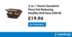 3-in-1 Panini Sandwich Press Fat Reducing Healthy Grill Save £20.05 Free P&P, £19.94 at ebay