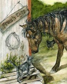 Cat and Horse saying Good Morning - Country style. $10.00, via Etsy.