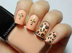 Leopard & stud cross nail art using Illamasqua Purity. By Nail Stories. Cross Nail Art, Cross Nails, Funky Nails, Trendy Nails, Cute Nails, Peach Nail Art, Peach Nails, Nail Art Design Gallery, Best Nail Art Designs