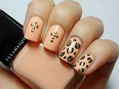 Leopard & stud cross nail art using Illamasqua Purity. By Nail Stories. Cross Nail Art, Cross Nails, Funky Nails, Trendy Nails, Cute Nails, Peach Nail Art, Peach Nails, Nail Art Design Gallery, Best Nail Art Designs