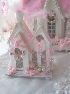 shabby chic christmas | Shabby Chic Pink Christmas Village House Glitter Victorian Putz Style ...
