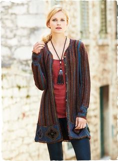A whimsical study of color and texture, our bohemian cardigan is an art knit mix of space-dyed bouclé and shimmery pima yarns. Striped in tweedy hues of indigo, amethyst, rust and sienna and framed in handcrocheted medallions and picot trim. Pima cotton (41%), baby alpaca (24%), alpaca (22%) and acrylic (13%).