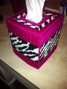 Glittery pink with zebra print plastic canvas tissue box cover