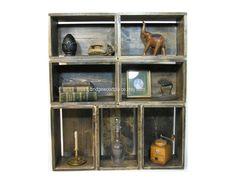 Wood Crate Shelves Wooden Bookshelf Wood Crate by BridgewoodPlace, $560.00