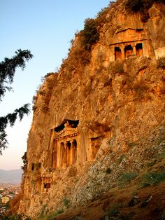 Amyntas Tombs at Fethiye - sunset in the valleys