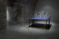 visuel : Richard Fauguet, sans titre, 2000, table de ping pong, métal, balles de ping pong, collection FRAC Limousin, droits réservés Limousin, Vive Le Sport, Center Sport, Suzhou, Installation Art, Dining Table, Sculpture, Exhibitions, Furniture