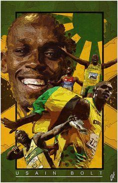 Usain Bolt Source by phantomkay Usain Bolt, Jamaican Art, Gorgeous Black Men, Pole Vault, Sport Icon, Living Legends, World Of Sports, Sports Art, Lightning Bolt