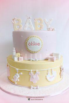 Baby Shower Cake Baby Chloe – Cake by guiltdesserts Torta Baby Shower, Tortas Baby Shower Niña, Idee Baby Shower, Baby Shower Cookies, Shower Cakes, Fondant Baby, Fondant Cupcakes, Fun Cupcakes, Baby Girl Cakes