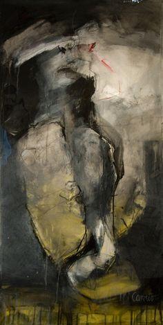 'Believer II' (2009) by Argentine architect & painter Gaston Carrio. Mixed media, 48 x 24 in. via Saatchi