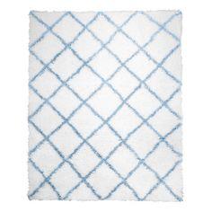 Carmela Ivory-Blue Shag Rug
