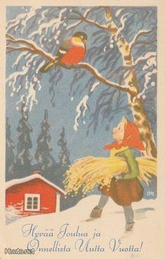 Olavi Vikainen Christmas Wishes, Christmas Time, Christmas Cards, Close To My Heart, Elves, Illustrators, Bird, How To Make, Carl Larsson