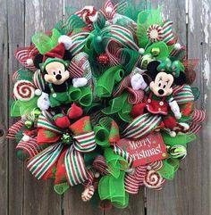 Disney Christmas Wreath, Mickey and Minnie Christmas, Mickey Mouse Christmas… Mickey Mouse Wreath, Disney Wreath, Mickey Mouse Christmas, Christmas Time, Etsy Christmas, Disney Diy, Disney Crafts, Disney Theme, Holiday Wreaths