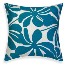 Blue Floral Pillow - Twirly Turquoise