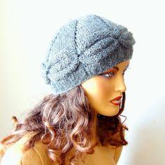 Gray Woman Hat Knit Gray Winter Beanie Women Gray by RoseAndKnit