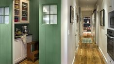 I like the pine floors that go all the way into the pantry. also the paned window on the sliding doors (although I would want them to be pocket doors.....