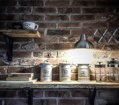 Rustic Red Brick Slip Kitchen Feature Wall