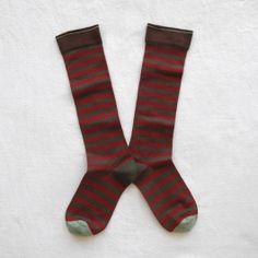 Chaussettes Hautes Bonne Maison / Bonne Maison knee highs - Rayures Kaki