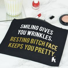 Are you interested in our Resting Bitch Face Gift? With our Funny Slogan Make Up Bag you need look no further. £12