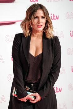 Caroline Flack Caroline Flack, Tv Presenters, Bobs, Leather Jacket, Blazer, Hair, Women, Fashion, Studded Leather Jacket