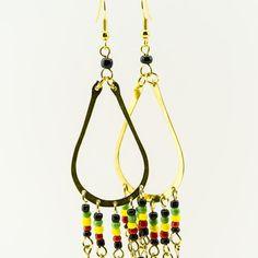 $13.99 African Brass Maasai Beads Rasta Earrings by MasaiMarkets on Etsy