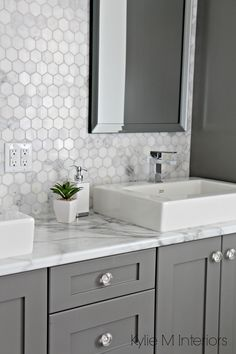 Formica-180FX-Calacatta-marble-laminate-countertop-hexagon-mosaic-marble-backsplash-and-Chelse-Gray-vanity-in-ensuite-bathroom-with-raised-sinks-by-Kylie-M-Interiors.jpg (2212×3318)