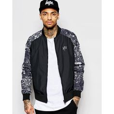 Hype Bomber Jacket ($112) ❤ liked on Polyvore featuring men's fashion, men's clothing, men's outerwear, men's jackets and black